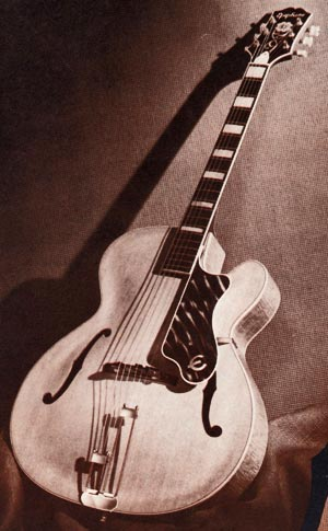 The Epiphone Broadway acoustic, as shown in the 1954 Epiphone catalogue