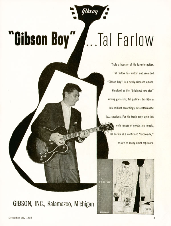 "Gibson advertisement (1957) ""Gibson Boy""... Tal Farlow"