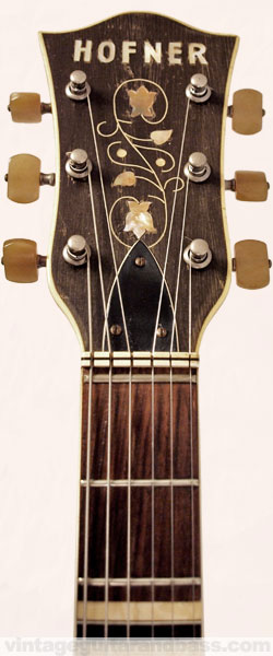 Hofner Verithin headstock front view