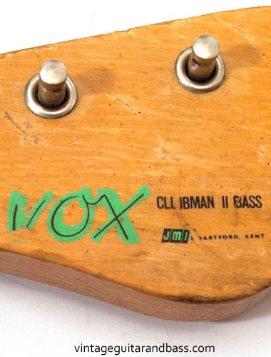 1963 Vox Clubman bass - Vox decal detail with model designation