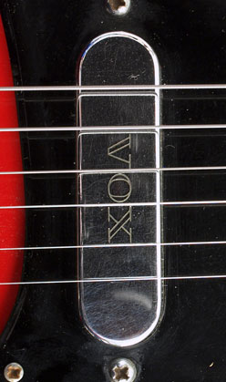 Vox V1 pickup detail with engraved Vox logo