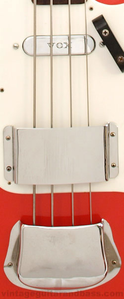 Vox Symphonic bass body detail, showing pickup and bridge covers