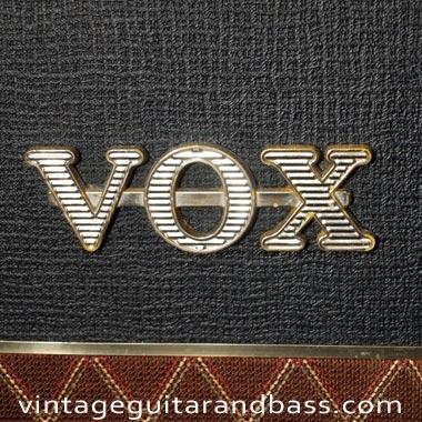 Vox badge on a 1964 Vox AC4 guitar amplifier