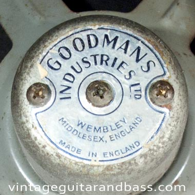 Close up of Goodmans branding on the speaker of a 1964 Vox AC4 amp