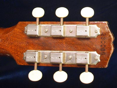 Gibson Melody Maker reverse headstock detail with Kluson Deluxe tuning keys