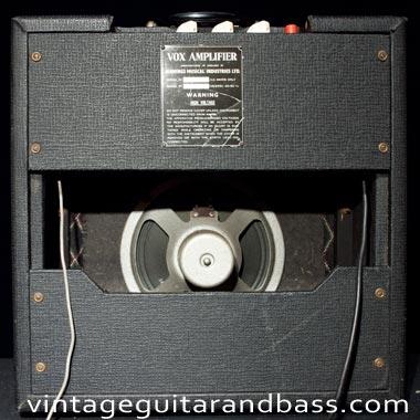 Back view of a vintage Vox AC4 amp