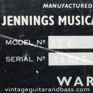 Serial number an model designation stamps from a 1965 Vox AC4 amplifier