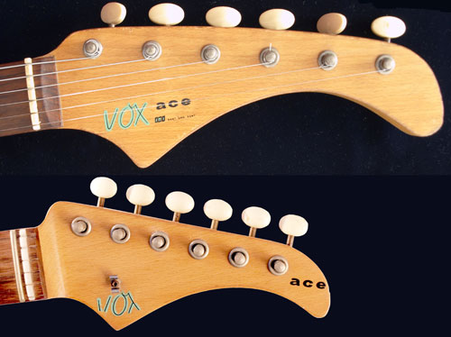1963 and 1965 Vox Ace headstocks