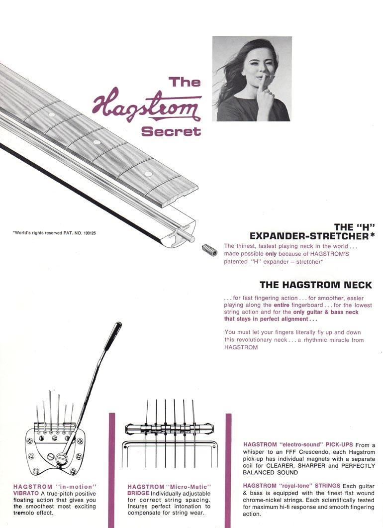 1966 Hagstrom guitar catalog page 2. Hagstrom H expander-stretcher neck insert