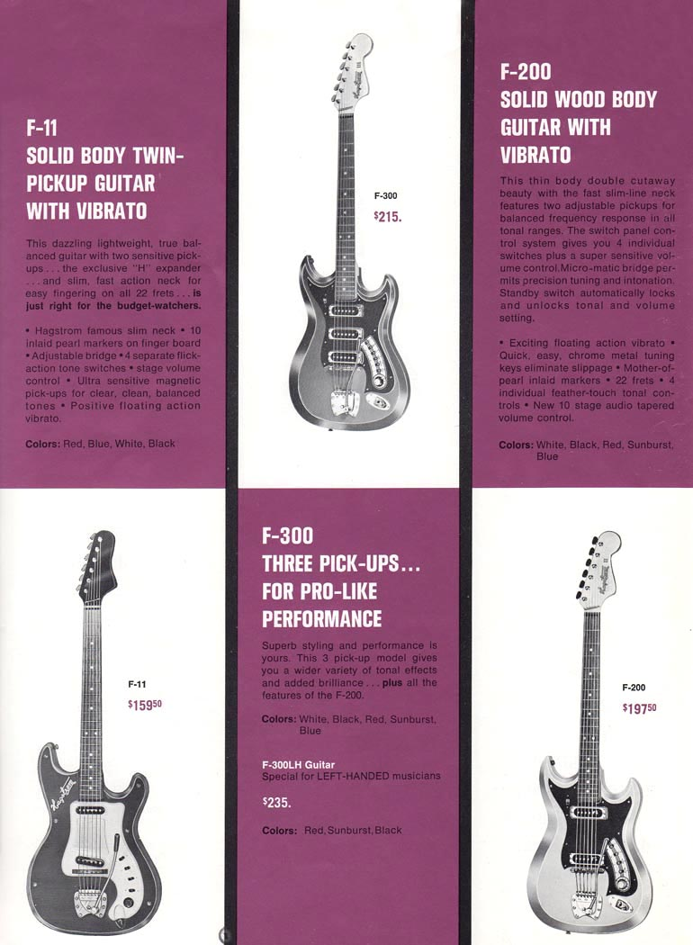 1966 Hagstrom guitar catalog page 3 - Details of the Hagstrom bridge, vibrato, pickups and strings