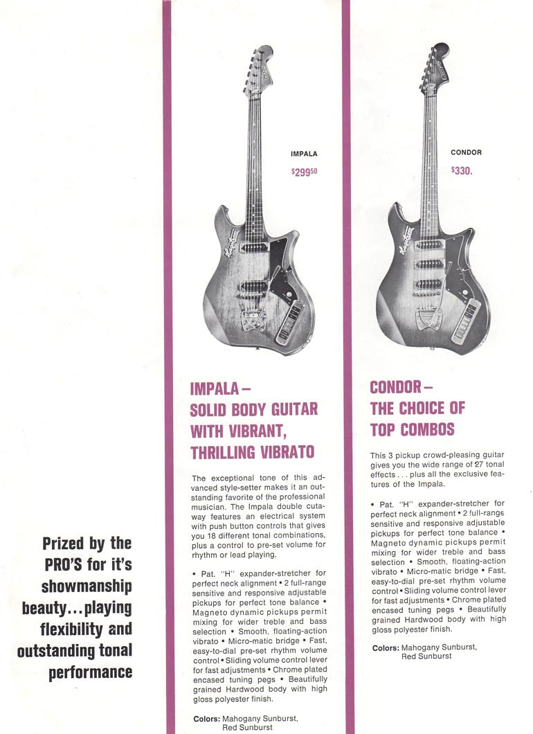 1966 Hagstrom guitar catalog page 4 - Left hand side of a double page spread - details of the Hagstrom F-11 and F-B bass