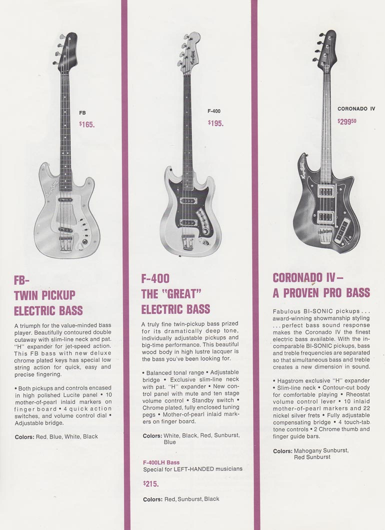1966 Hagstrom guitar catalog page 5 - details of the Hagstrom F-11 and F-B bass