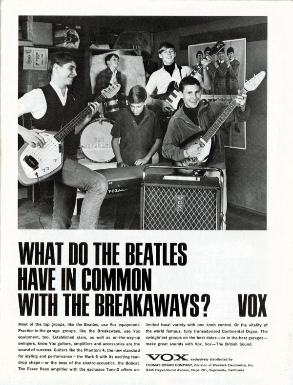 Vox advertisement (1966) What do the Beatles have in common with the Breakaways?