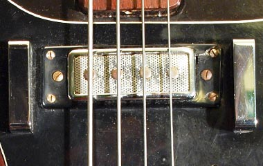 Closer look at a Hagstrom Coronado bass pickup, and thumbrests