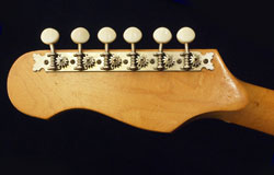 Kalamazoo KG1 reverse headstock detail, showing open gear tuners