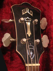 1968 Guild Starfire Bass - headstock detail with Chesterfield inlays and model-designated truss rod cover