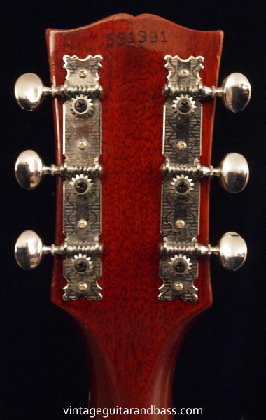 1969 Gibson SG Special headstock reverse with metal strip tuning keys