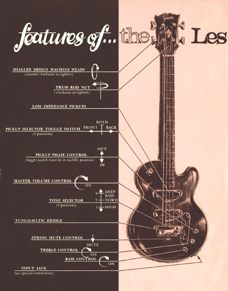 1969 Gibson Les Paul bass owners manual - page 2