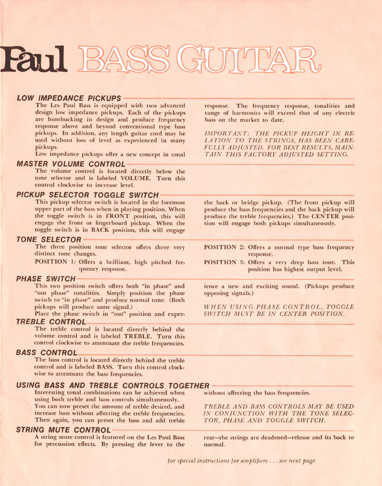 1969 Gibson Les Paul bass owners manual - page 3
