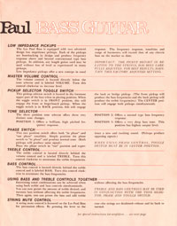 1969 Les Paul bass owners manual page 3