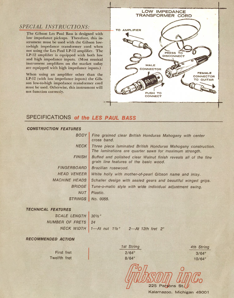 1969 Gibson Les Paul bass owners manual - page 4