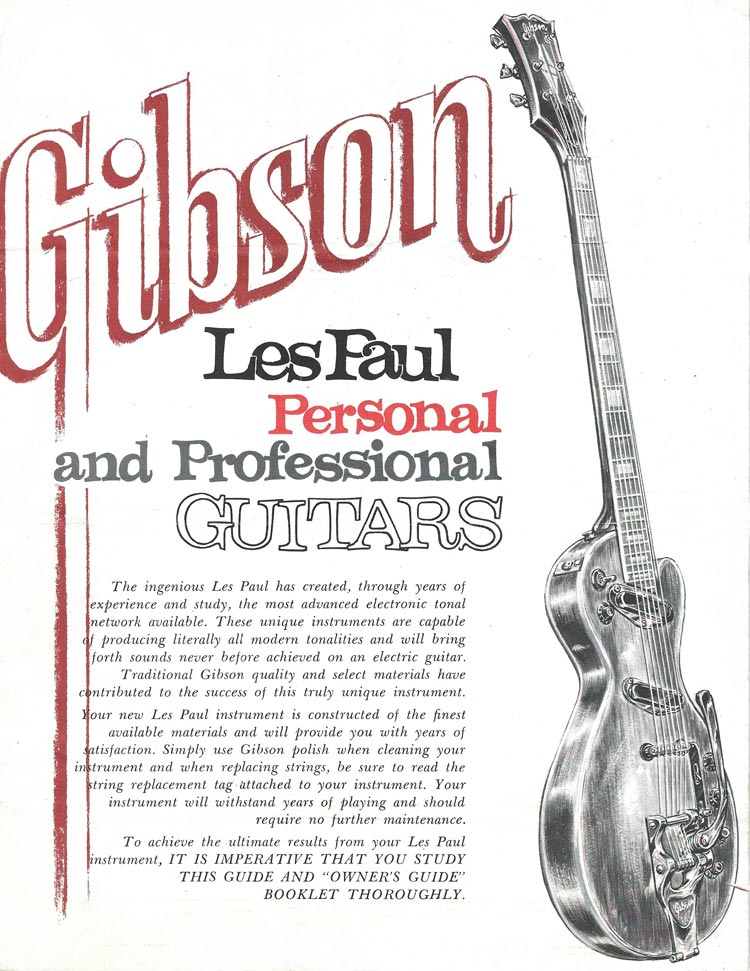1969 Gibson Les Paul Personal / Professional owners manual - front cover