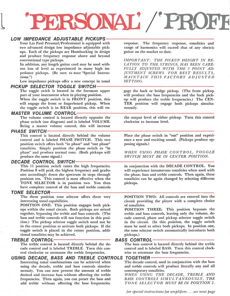 1969 Gibson Les Paul Personal / Professional owners manual - page 3