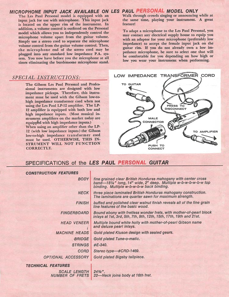 1969 Gibson Les Paul Personal / Professional owners manual - page 5
