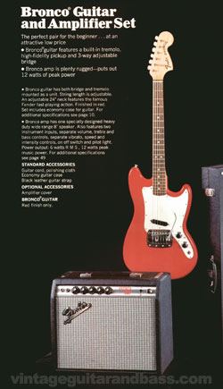 Fender Bronco set from the 1970 Fender catalogue