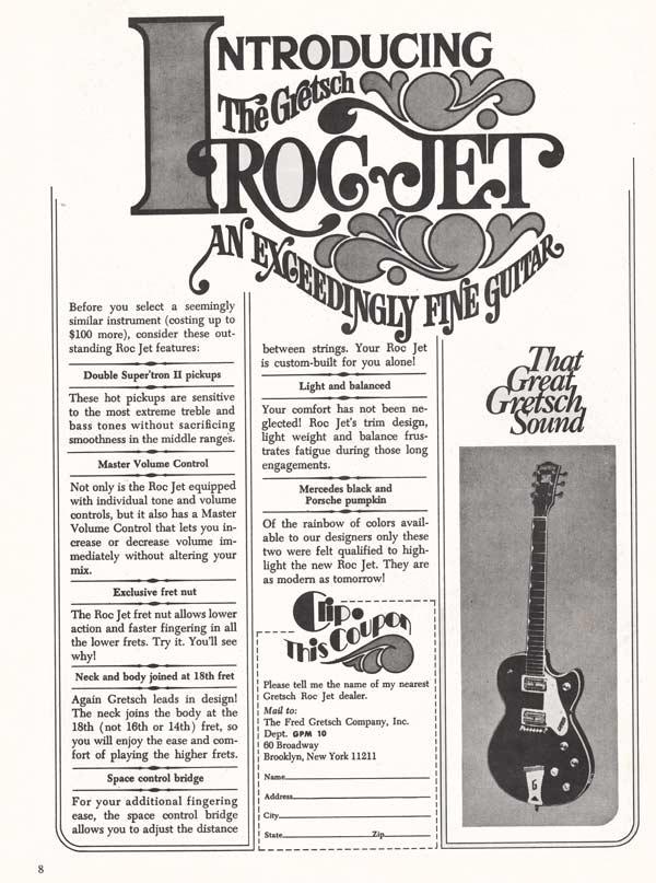 Gretsch advertisement (1971) Introducing the Gretsch Roc Jet - An Exceedingly Fine Guitar