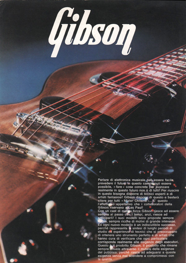 1971 Italian Gibson brochure - front cover