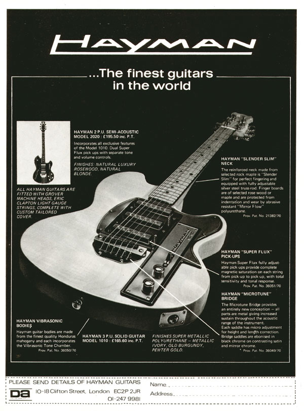 Hayman advertisement (1971) Hayman - the finest guitars in the world