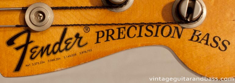 1972 Fender Precision bass - headstock decal detail