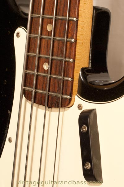 1972 Fender Precision bass - body detail showing neck joint and fingerrest
