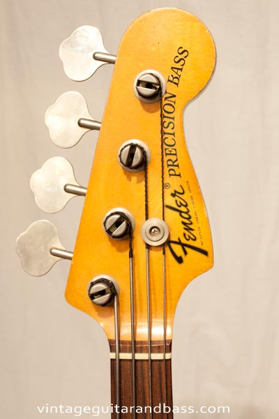 1972 Fender Precision bass - headstock and decal detail
