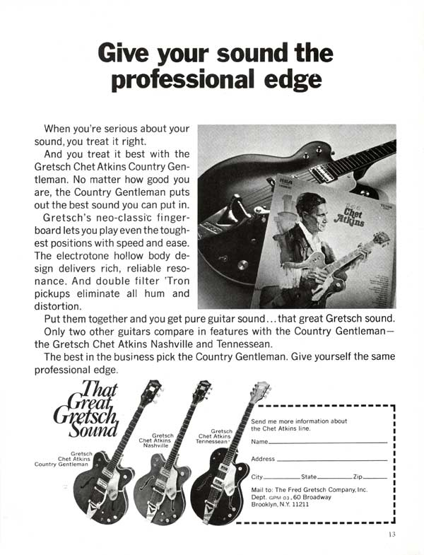 Gretsch advertisement (1972) Give Your Sound the Professional Edge