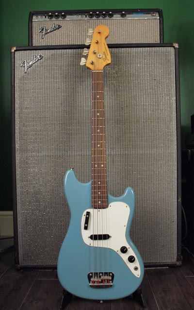 1973 Fender Musicmaster bass with Fender Bassman 100 amplifier