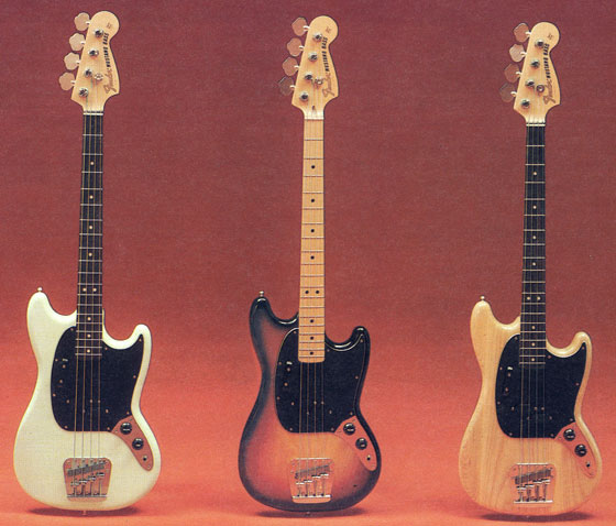 Fender Mustang basses from the 1976 Fender catalogue