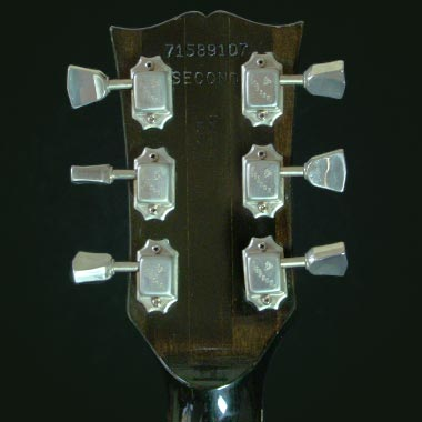 1979 Gibson ES-175D headstock rear, with serial number, Schaller tuners and MADE IN USA stamp