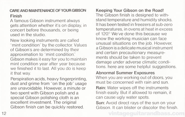 1980 Gibson Sonex owners manual - page 12