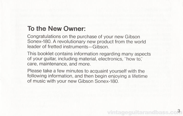 1980 Gibson Sonex owners manual - page 3