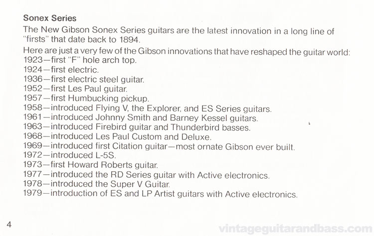 1980 Gibson Sonex owners manual - page 4