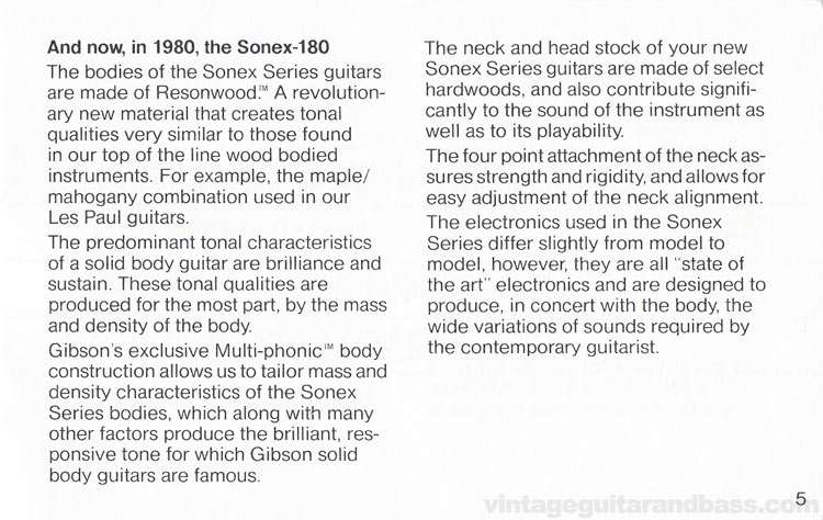 1980 Gibson Sonex owners manual - page 5