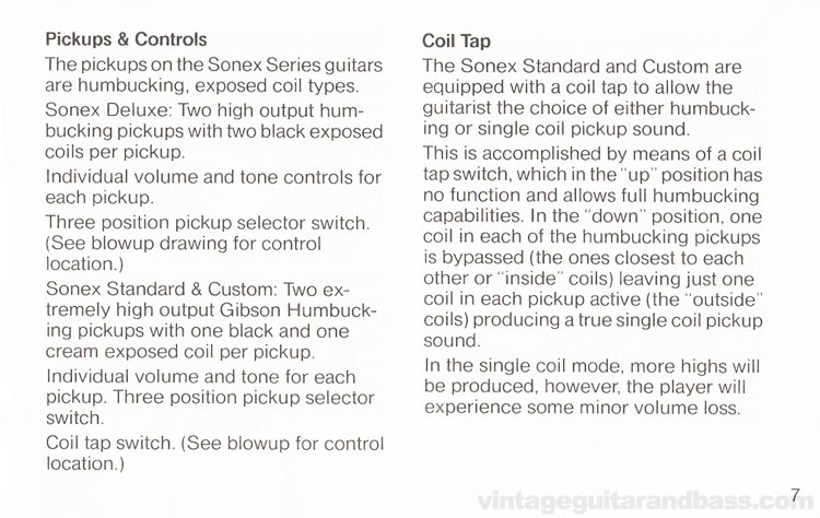 1980 Gibson Sonex owners manual - page 7
