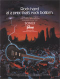 1982 advertisement for the Gibson Sonex-180 Deluxe