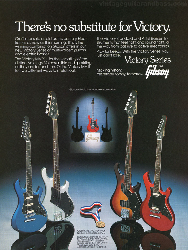 1982 Gibson Victory Multi-Voice guitar and Victory bass publicity sheet - image