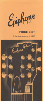 1983 Epiphone USA price list - contents page