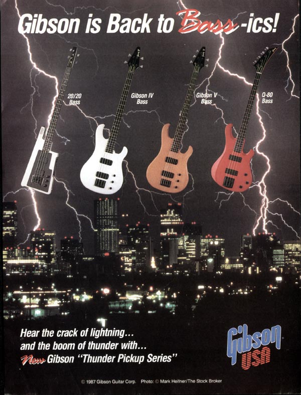 Gibson advertisement (1987) Gibson is Back to Bass-ics!