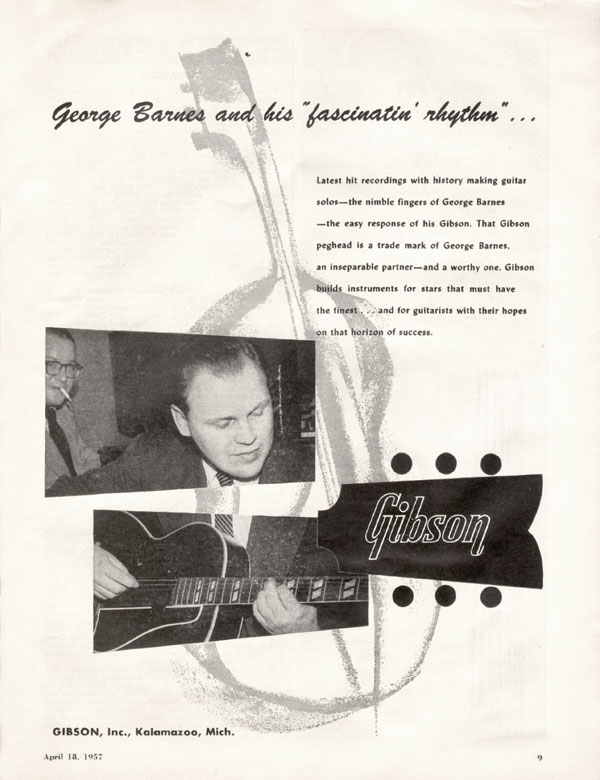 "Gibson advertisement (1957) George Barnes ""fascinatin"