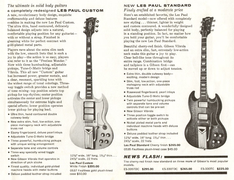 1960 Gibson brochure announcing the Les Paul Custom and Standard